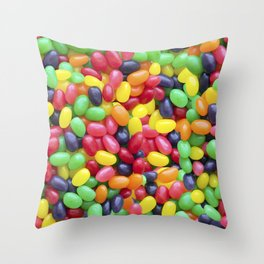Jelly Bean Candy Photo Pattern Throw Pillow