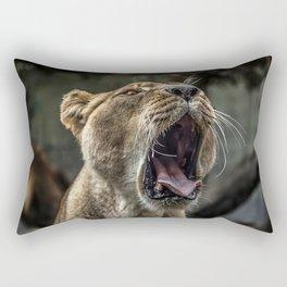 Yawning Female Lion Rectangular Pillow