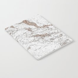 White frost - rose gold marble Notebook