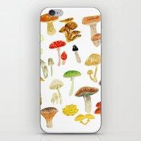mushrooms iPhone & iPod Skins featuring Mushrooms by Lara Paulussen