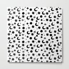 Cosmis space in black and write Metal Print