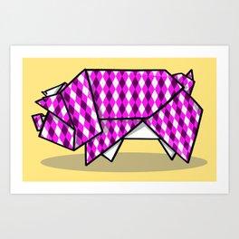 Origami Pig Art Print