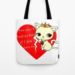 Cat Princess Broken Heart Tote Bag