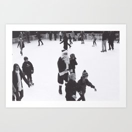 Skating Santa Art Print