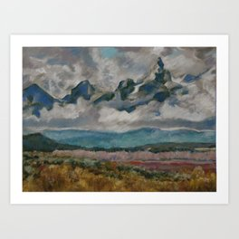 #23-Grand Tetons with Clouds Art Print