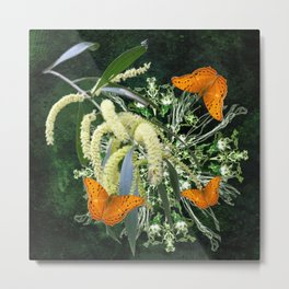 butterflies and wattle with green abstract bouquet Metal Print