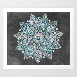 Mermaid Mandala on Deep Gray Art Print