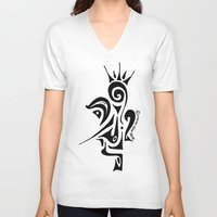 crown V-neck T-shirts featuring Crown by Dror Designs