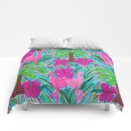 Beach Party with Palms and Flamingos Comforters