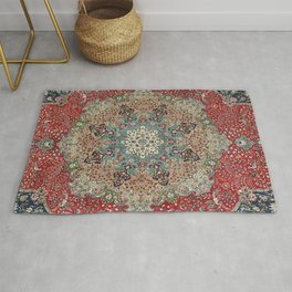 Antique Red Blue Black Persian Carpet Print Rug