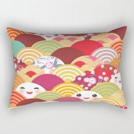 Kawaii Nature background with japanese sakura flower, wave pattern Rectangular Pillow