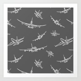 Airplanes on Dark Grey Art Print
