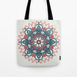 Coral & Teal Tangle Medallion Tote Bag