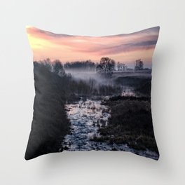 Foggy Sunrise At Chasewater Throw Pillow