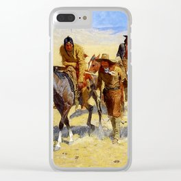 """Frederic Remington Art """"Pony Tracks In the Buffalo Trail"""" Clear iPhone Case"""