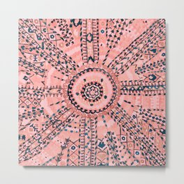 Light Pink Wildflower Sunshine I // 18th Century Colorful Pinkish Dusty Blue Gray Positive Pattern Metal Print