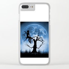 Moonlight Wondering Fairy - Blue Clear iPhone Case