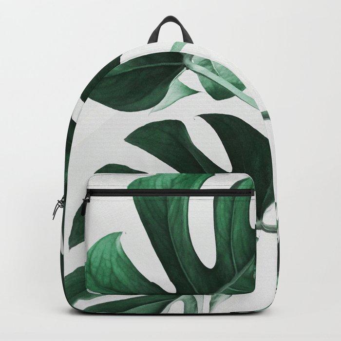 Monstera, Leaves, Plant, Green, Scandinavian, Minimal, Modern, Wall art Backpack