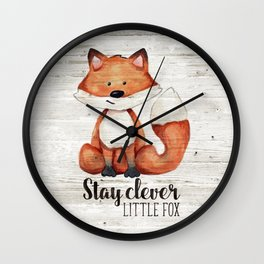 Stay Clever Little Fox Wall Clock