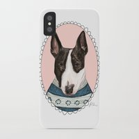 bull terrier iPhone & iPod Cases featuring Bull Terrier by Rhian Davie