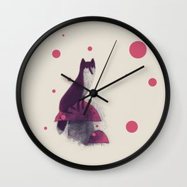 Little Fox and Mushrooms Wall Clock