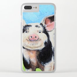 Happy Pig Painting Clear iPhone Case