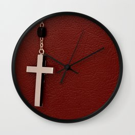 Holy Bible with the crucifix on wooden table Wall Clock