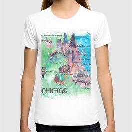 Chicago Favorite Map with touristic Top Ten Highlights in Colorful Retro Style T-shirt