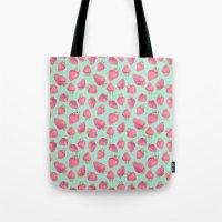 strawberry Tote Bags featuring Strawberry  by Marta Olga Klara