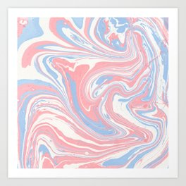 Modern abstract pink coral blue watercolor marble Art Print