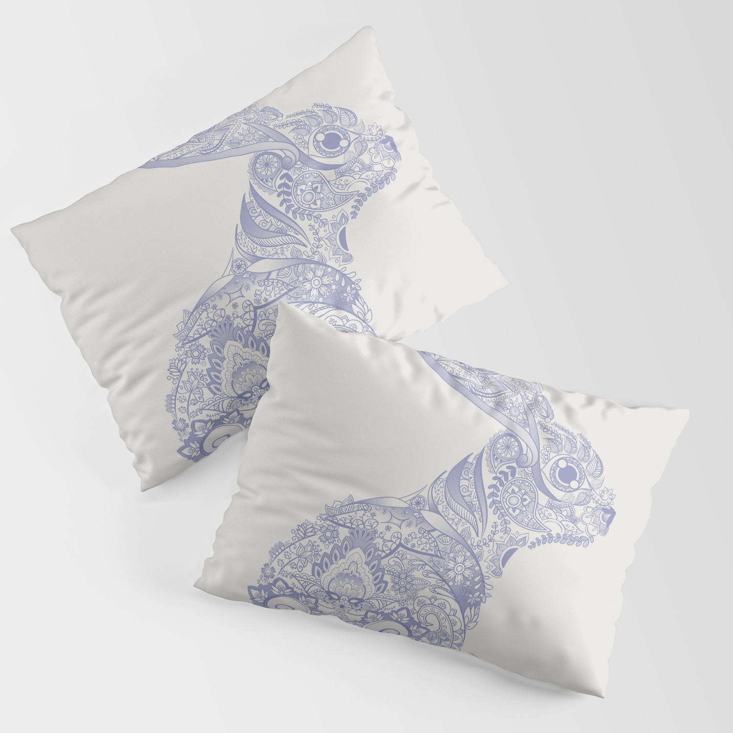 Henna Rabbit Pillow Sham By Dezi Society6