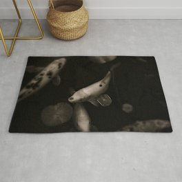 Black and white koi fish Rug