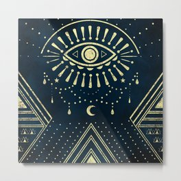 Eye Midnight Gold Metal Print