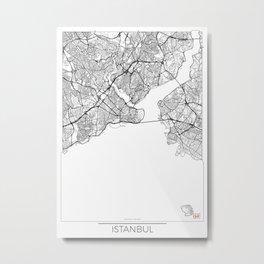 Istanbul Map White Metal Print