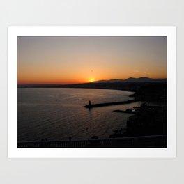 Sunset in Nice, France Art Print