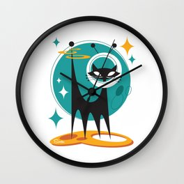 Atomic Space Cat Mid Century Modern Art Scooter Wall Clock