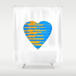 Glitching Hearts — Blue and Orange Shower Curtain