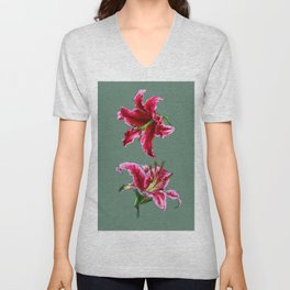 twin lilies Unisex V-Neck