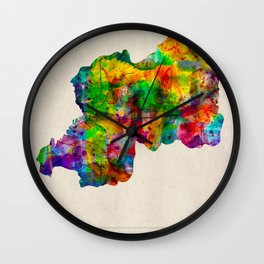 Rwanda Map in Watercolor Wall Clock