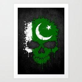 Flag of Pakistan on a Chaotic Splatter Skull Art Print