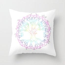 Rainbow Tree of Life - hand designed tattoo style Tree of Life Throw Pillow