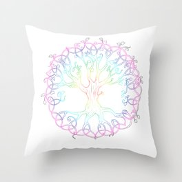 Rainbow Tree of Life - hand designed tattoo style Tree of Life Throw Pillow