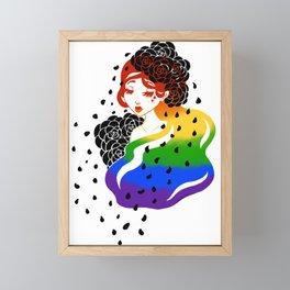 Rainbow Rose Girl Framed Mini Art Print