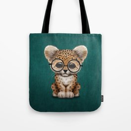 Cute Baby Leopard Cub Wearing Glasses on Teal Blue Tote Bag