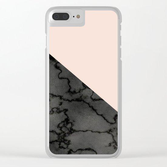 Peach and black dark marble Clear iPhone Case