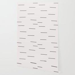 Mudcloth white black dashes Wallpaper