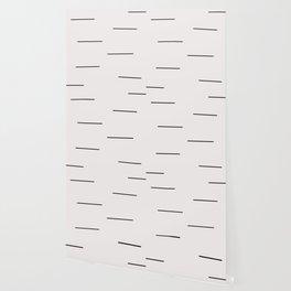 Mudcloth white black dashes Wallpaper