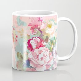 Botanical neo mint pink abstract watercolor floral pattern Coffee Mug