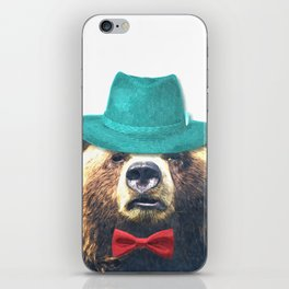 Funny Bear Illustration iPhone Skin