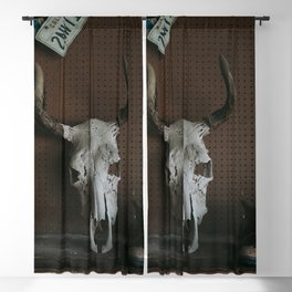 Long Horn Skull Blackout Curtain